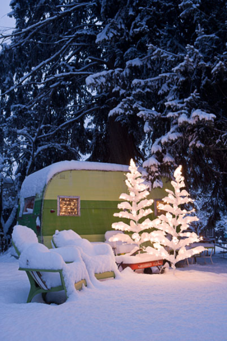 Snow covered camper